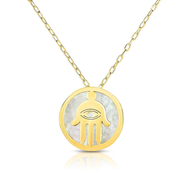 Giorgio Bergamo Jewelry 14kt Gold Mother of Pearl Hamsa Disc Pendant Necklace MJRC1532