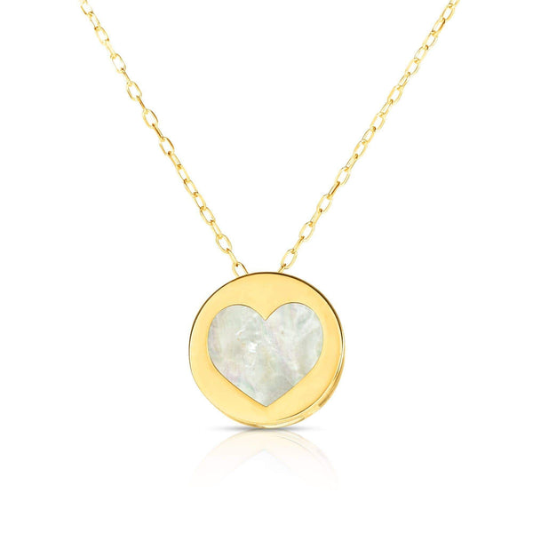 Giorgio Bergamo Jewelry 14kt Gold Mother of Pearl Heart Disc Pendant Necklace MJRC1527