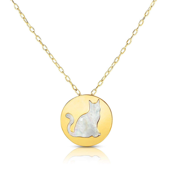 Giorgio Bergamo Jewelry 14kt Gold Mother of Pearl Kitty Cat Disc Pendant Necklace MJRC1533