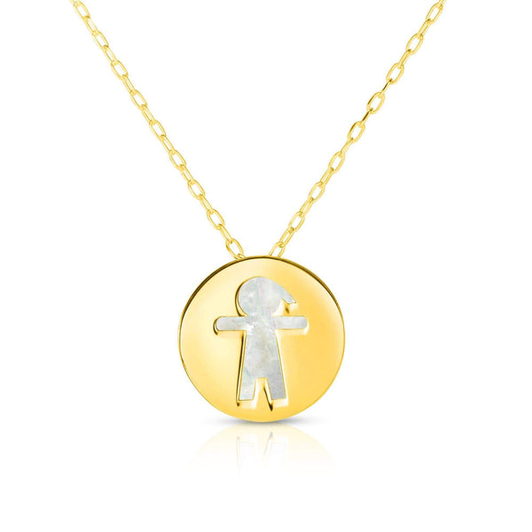 Giorgio Bergamo Jewelry 14kt Gold Mother of Pearl Little Boy Disc Pendant Necklace MJRC1525