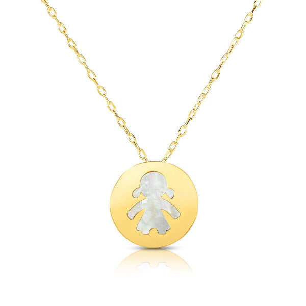 Giorgio Bergamo Jewelry 14kt Gold Mother of Pearl Little Girl Disc Pendant Necklace MJRC1526