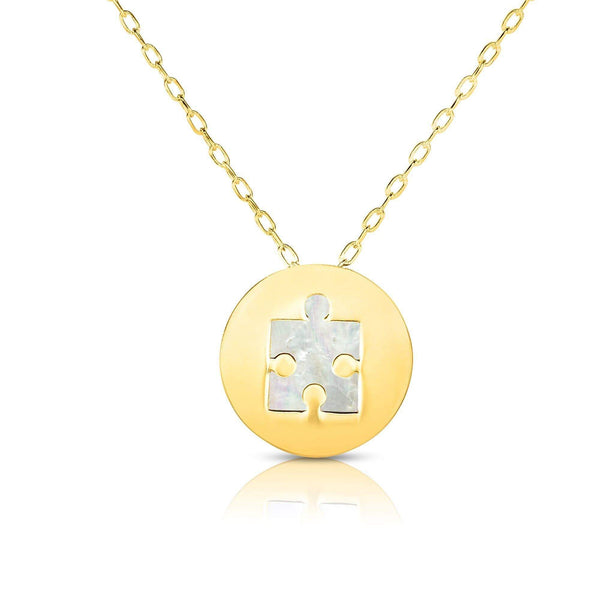 Giorgio Bergamo Jewelry 14kt Gold Mother of Pearl Puzzle Piece Disc Pendant Necklace MJRC1534