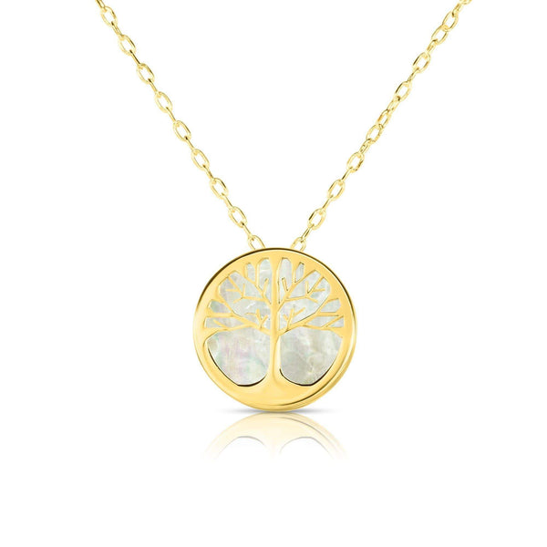Giorgio Bergamo Jewelry 14kt Gold Mother of Pearl Tree of Life Disc Pendant Necklace MJRC1528