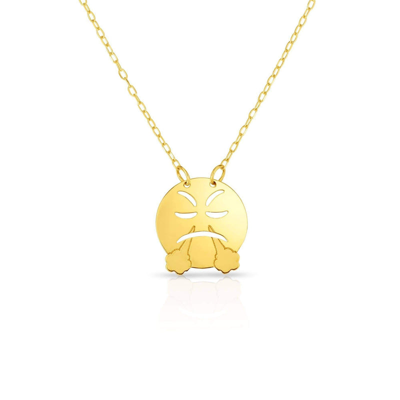 Giorgio Bergamo Jewelry 14kt Gold Polished Angry Emoji Face Necklace MJRC1545