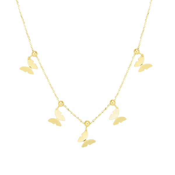 Giorgio Bergamo Jewelry 14kt Gold Polished Butterfly Moveable Station Necklace MJERC9658
