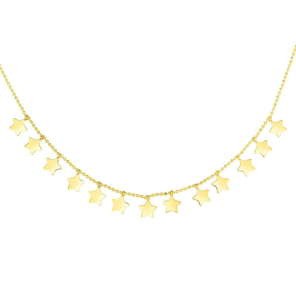 Giorgio Bergamo Jewelry 14kt Gold Polished Celestial Star Station Necklace MJRC2242