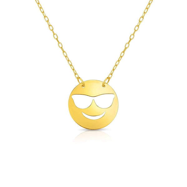 Giorgio Bergamo Jewelry 14kt Gold Polished Cool Emoji Face Necklace MJRC1539