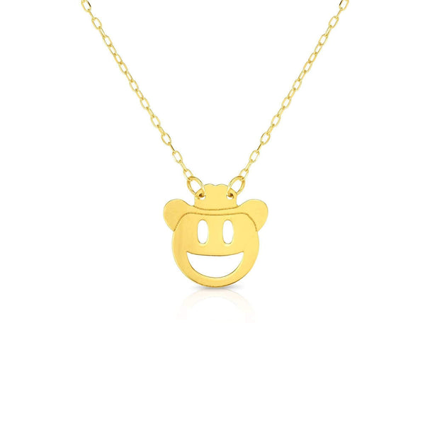 Giorgio Bergamo Jewelry 14kt Gold Polished Cowboy Emoji Face Necklace MJRC1543