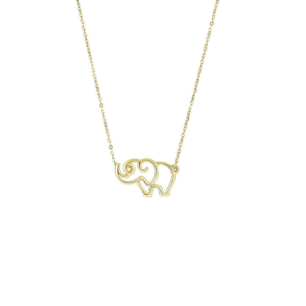 Giorgio Bergamo Jewelry 14kt Gold Polished Cut Out Elephant Necklace MJN3734