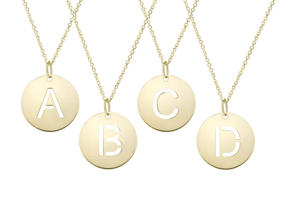 Giorgio Bergamo Jewelry 14kt Gold Polished Cut Out Initial Disc Necklace