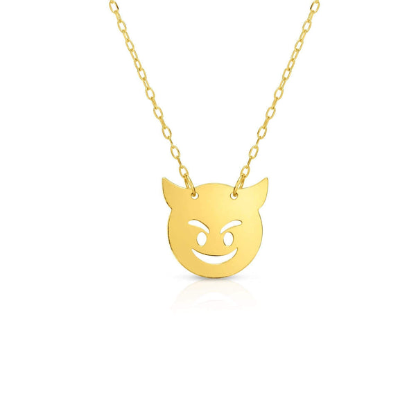 Giorgio Bergamo Jewelry 14kt Gold Polished Devil Emoji Face Necklace MJRC1544