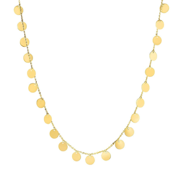 Giorgio Bergamo Jewelry 14kt Gold Polished Disc Choker Necklace MJRC9805