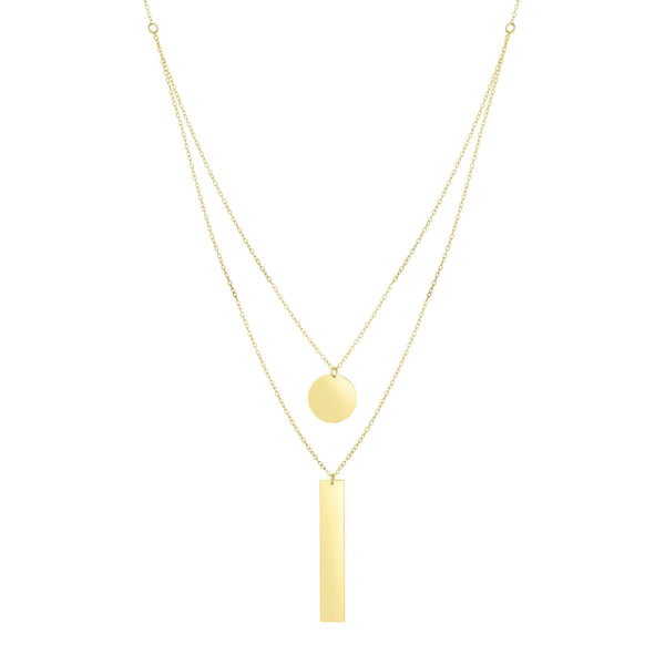 Giorgio Bergamo Jewelry 14kt Gold Polished Disc & Rectangle Dual Layered Necklace MJRC8283