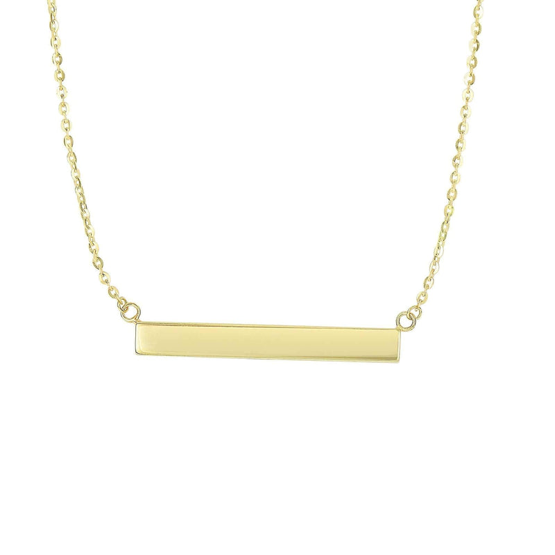 Giorgio Bergamo Jewelry 14kt Gold Polished Engraveable Bar Necklace MJN2988