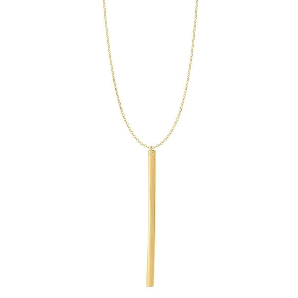 Giorgio Bergamo Jewelry 14kt Gold Polished Engraveable Long Veritcal Bar Necklace NCK4697