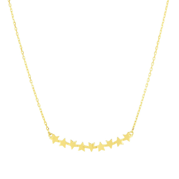 Giorgio Bergamo Jewelry 14kt Gold Polished Floating Star Bar Necklace MJRC9881