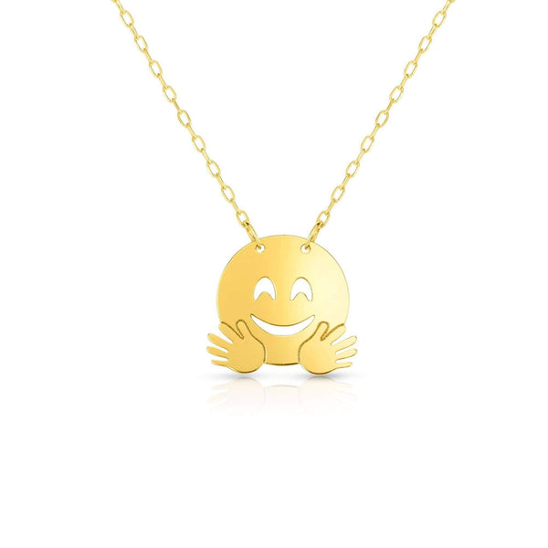 Giorgio Bergamo Jewelry 14kt Gold Polished Hugs Emoji Face Necklace MJRC1542