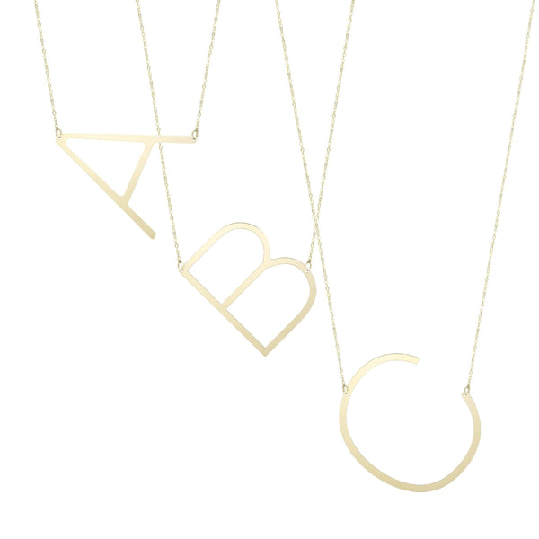 Giorgio Bergamo Jewelry 14kt Gold Polished Initial Sideways Necklace