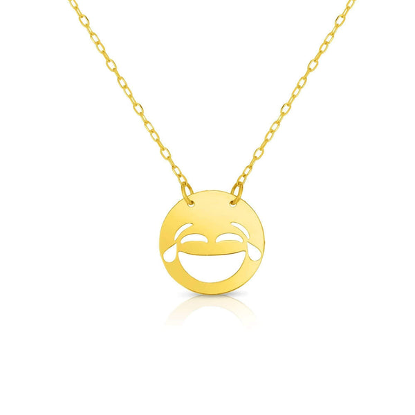 Giorgio Bergamo Jewelry 14kt Gold Polished LOL Emoji Face Necklace MJRC1540