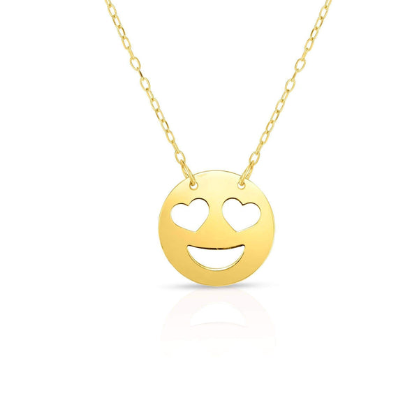 Giorgio Bergamo Jewelry 14kt Gold Polished Love Emoji Face Necklace MJRC1538