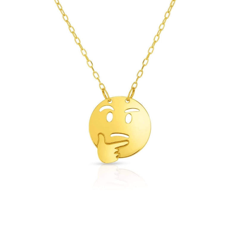 Giorgio Bergamo Jewelry 14kt Gold Polished Thinking Emoji Face Necklace MJRC1541