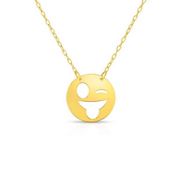Giorgio Bergamo Jewelry 14kt Gold Polished Winking Emoji Face Necklace MJRC1537
