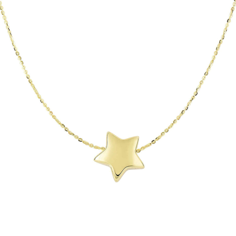 Giorgio Bergamo Jewelry 14kt Gold Puffed Star Pendant Necklace MJN2980