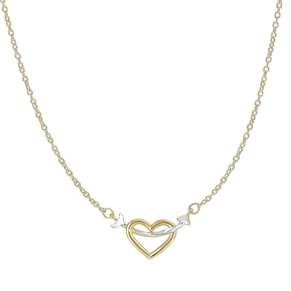 Giorgio Bergamo Jewelry 14kt Gold Two-Tone Arrow Through Open Heart Pendant Necklace MJN3227
