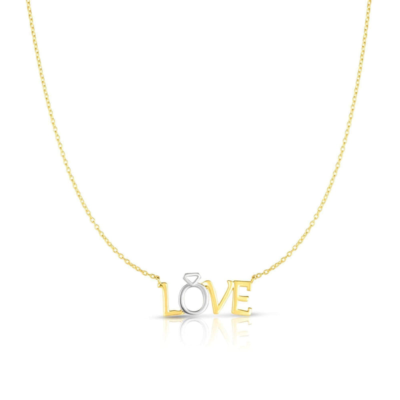 Giorgio Bergamo Jewelry 14kt Gold Two-Tone Love Pendant Necklace MJRC1219