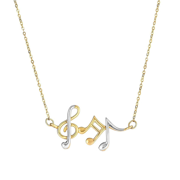 Giorgio Bergamo Jewelry 14kt Gold Two Tone Music Note Pendant Necklace MJN3634