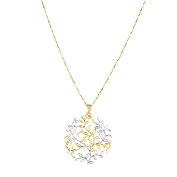 Giorgio Bergamo Jewelry 14kt Gold Two-Tone Tree Of Life Pendant Necklace MJPD3212