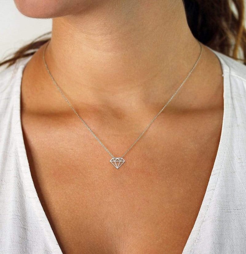 Giorgio Bergamo Jewelry 14kt White Gold Geometric Diamond Pendant Necklace MJWNCK3650
