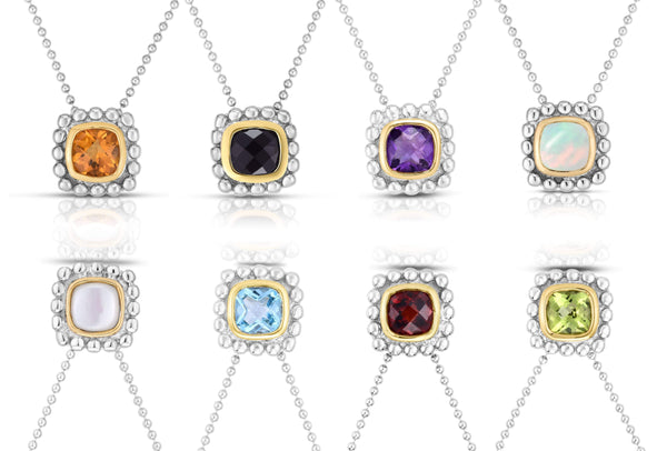 Giorgio Bergamo Jewelry 925 Sterling Silver & 18kt Gold Gemstone Halo Pendant Necklace