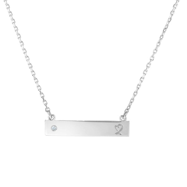Giorgio Bergamo Jewelry 925 Sterling Silver Diamond Accent Engraveable Bar Necklace AGRC8349