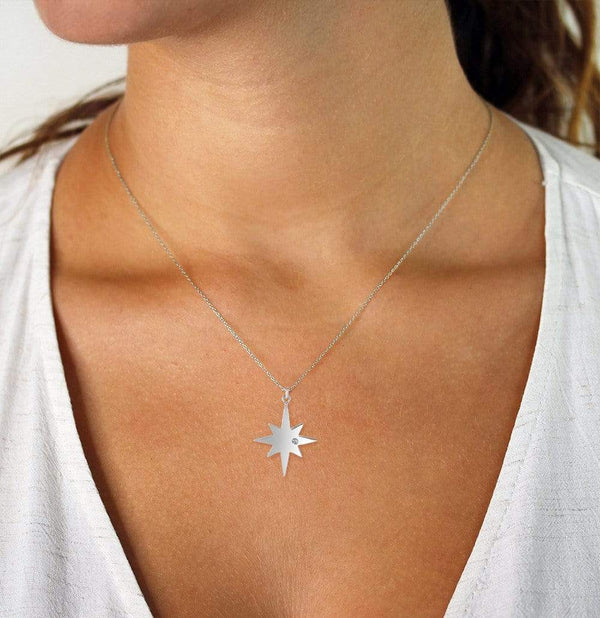 Giorgio Bergamo Jewelry 925 Sterling Silver Diamond Accent North Star Pendant Necklace AGRC8364