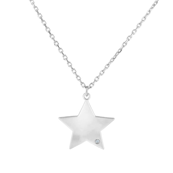 Giorgio Bergamo Jewelry 925 Sterling Silver Diamond Accent Star Pendant Necklace AGRC8343