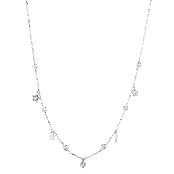 Giorgio Bergamo Jewelry 925 Sterling Silver Diamond By The Yard Charm Necklace AGRC6694