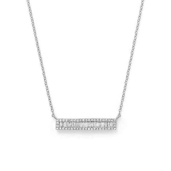 Giorgio Bergamo Jewelry 925 Sterling Silver Micro Pave Baguette Bar Necklace MJN9372
