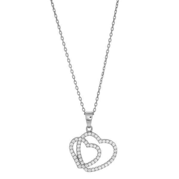 Giorgio Bergamo Jewelry 925 Sterling Silver Micro Pave Double Heart Pendant Necklace AGP1566