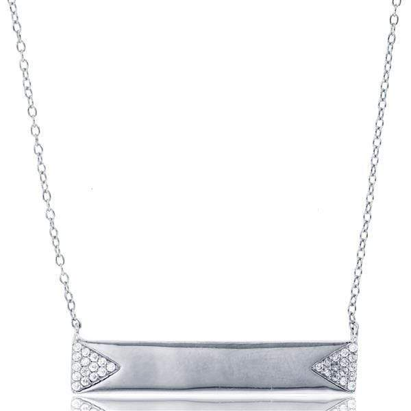 Giorgio Bergamo Jewelry 925 Sterling Silver Micro Pave Engraveable Bar Necklace MJN9372