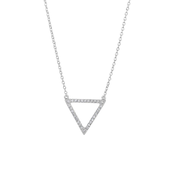 Giorgio Bergamo Jewelry 925 Sterling Silver Micro Pave Triangle Delta Necklace AGN3000