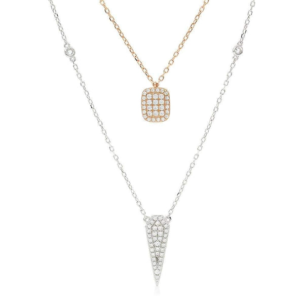 Giorgio Bergamo Jewelry 925 Sterling Silver Micro Pave Two-Tone Layered Spike Necklace MJN101