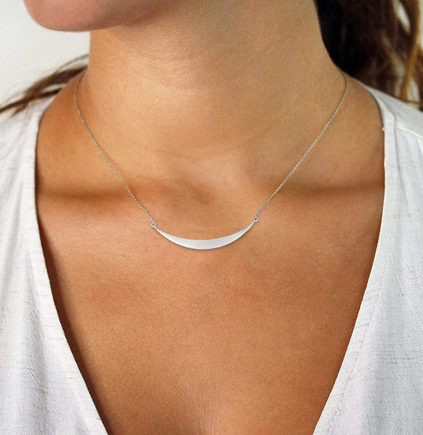 Giorgio Bergamo Jewelry 925 Sterling Silver Polished Curved Bar Necklace MJAGRC5601
