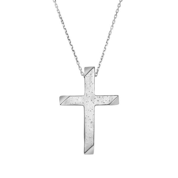 Giorgio Bergamo Jewelry 925 Sterling Silver Stardusted Tube Cross Pendant Necklace AGP640