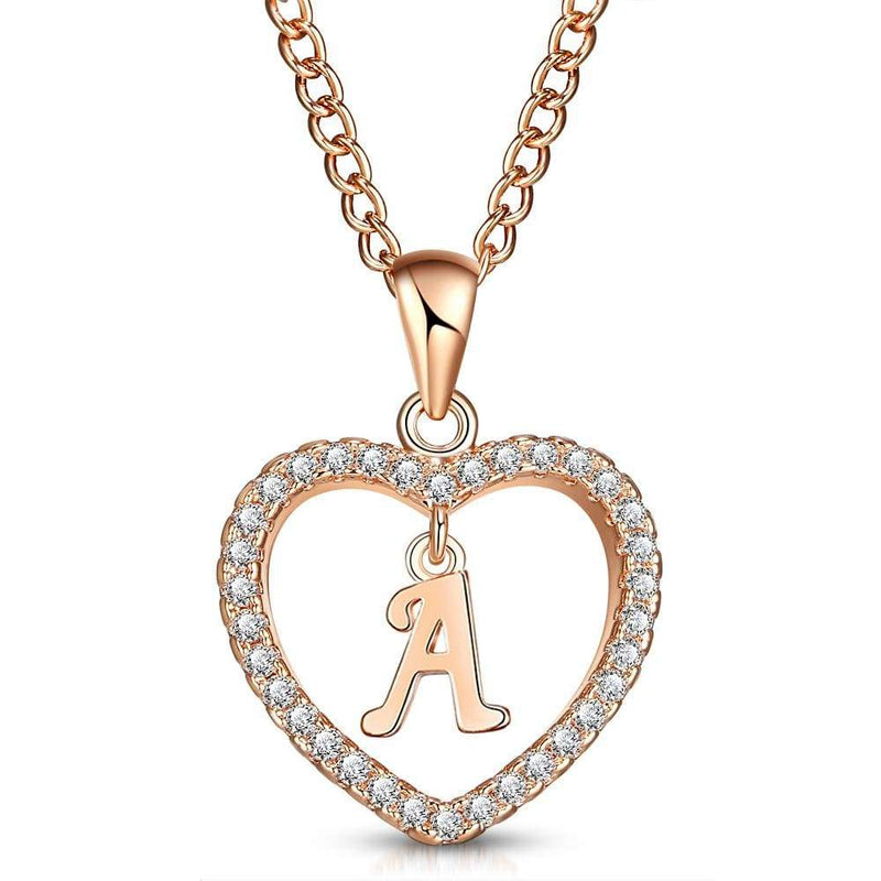 Giorgio Bergamo Jewelry A Rose Gold Plated Crystal Heart Initial Pendant Necklace MJIPA01