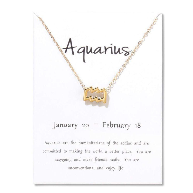 Giorgio Bergamo Jewelry Aquarius Gold Plated Zodiac, Horoscope, Pendant Necklaces MJZP102