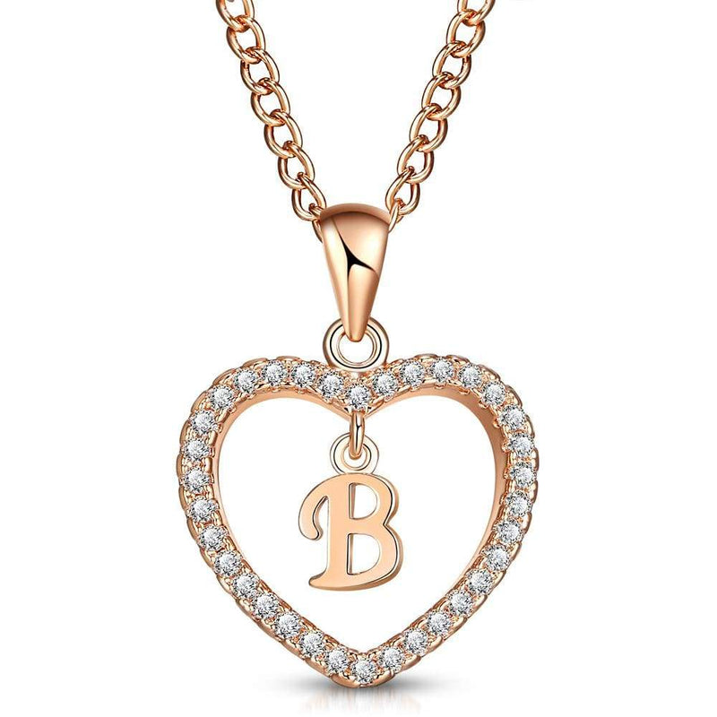 Giorgio Bergamo Jewelry B Rose Gold Plated Crystal Heart Initial Pendant Necklace MJIPB02