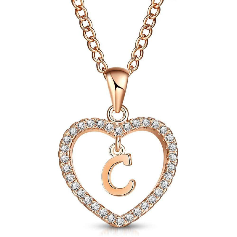 Giorgio Bergamo Jewelry C Rose Gold Plated Crystal Heart Initial Pendant Necklace MJIPC03