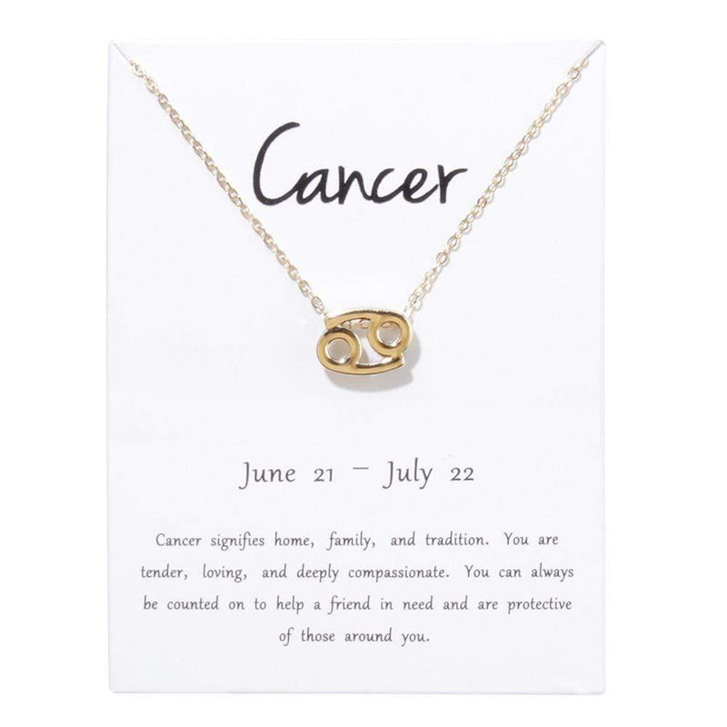 Giorgio Bergamo Jewelry Cancer Gold Plated Zodiac, Horoscope, Pendant Necklaces MJZP107