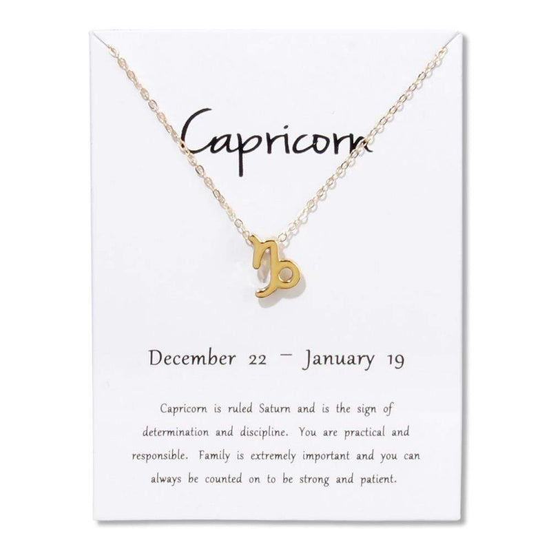 Giorgio Bergamo Jewelry Capricorn Gold Plated Zodiac, Horoscope, Pendant Necklaces MJZP101